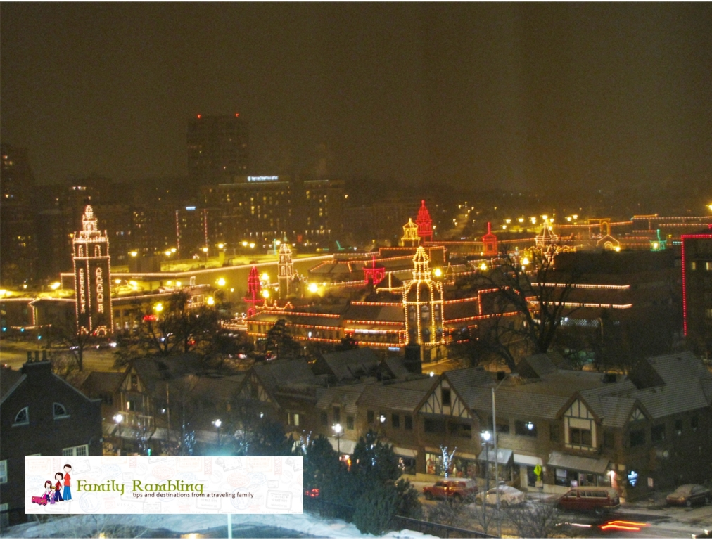 View of Country Club Plaza lit for Christmas