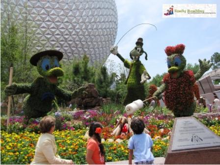Campfire Topiary entering Epcot during the International Flower and Garden Show