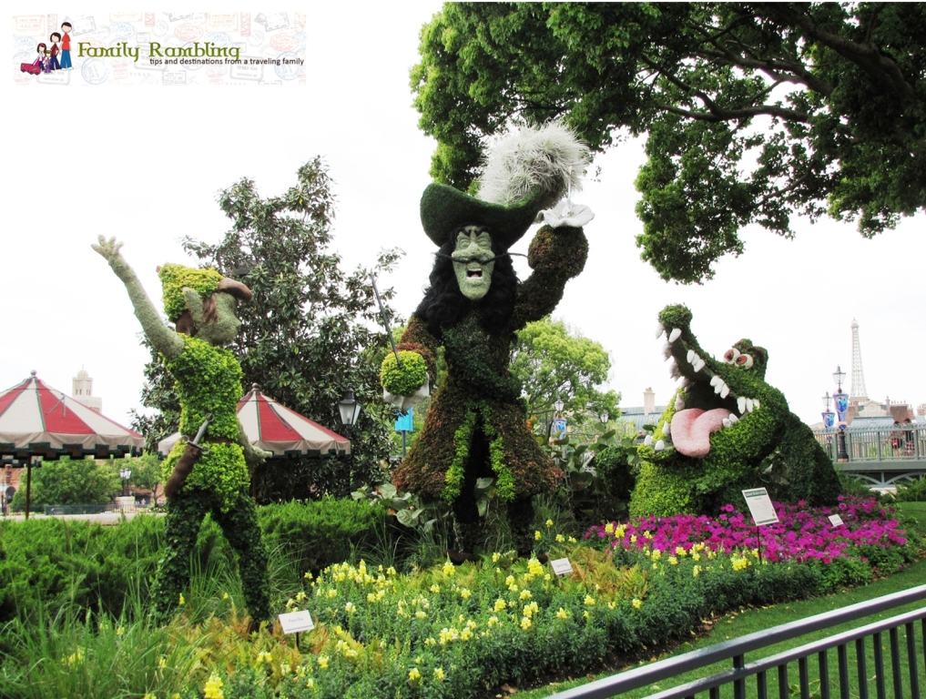 Peter Pan and Captain Hook topiaries at Epcot Intl. Flower and Garden Show
