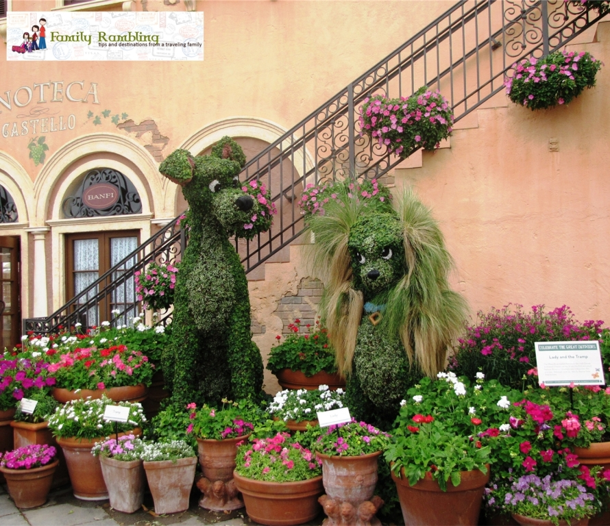 Lady and the Tramp topiary at Epcot Intl. Flower and Garden Show