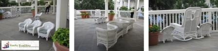 White wicker seats on the veranda at the Boardwalk Inn, Walt Disney World