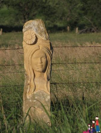 carved post rock near Lake Wilson, Kansas