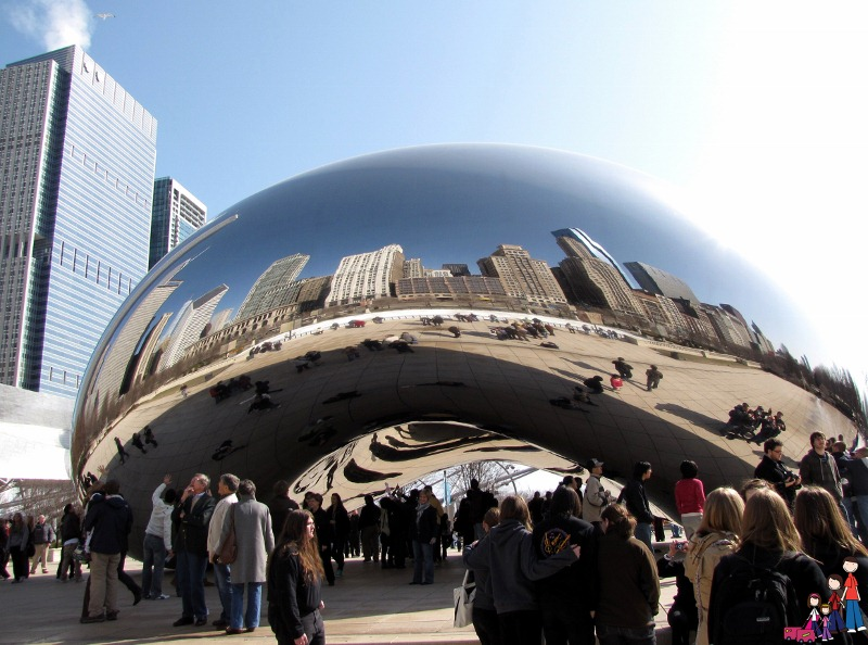"Downtown Chicago reflected in the Cloud Gate Sculpture (aka ""the bean"")"
