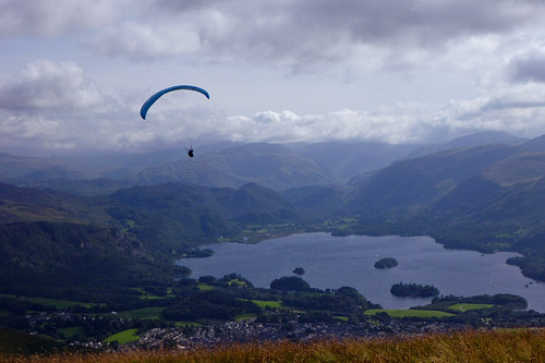 Paragliding over Derwent Water, Lake District.