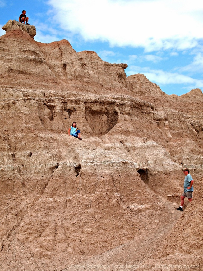 Climbing at Fossil Exhibit Trail, Badlands National Park, South Dakota