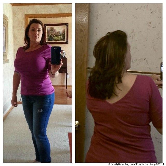 Three Dots Gwendolen V-back knit shirt and Kensie Sophia Distresses Skinny Jean