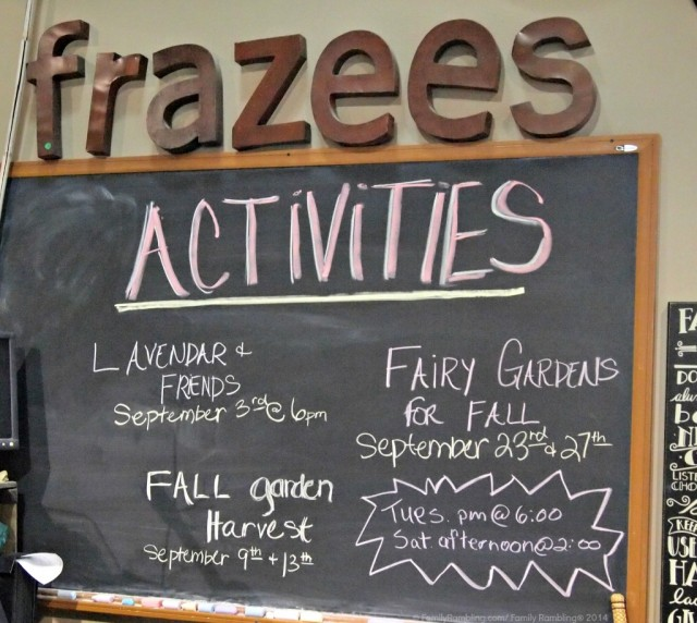 Classes and activities at Frazee Gardens in Brownsburg, Indiana
