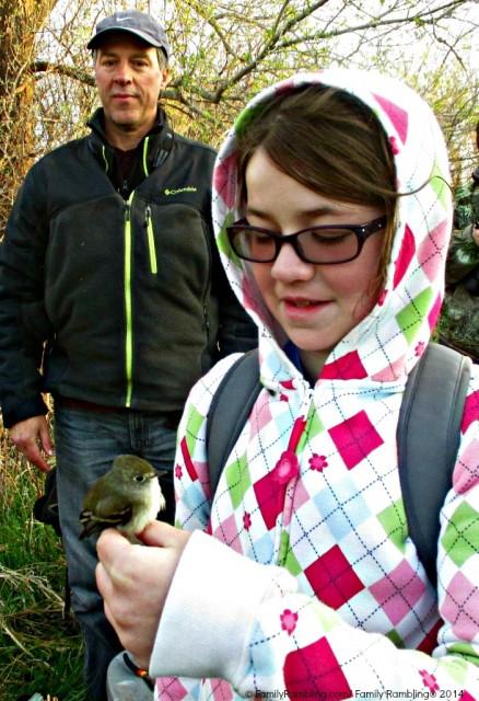 Holding a bird at the South Dakota Birding Festival
