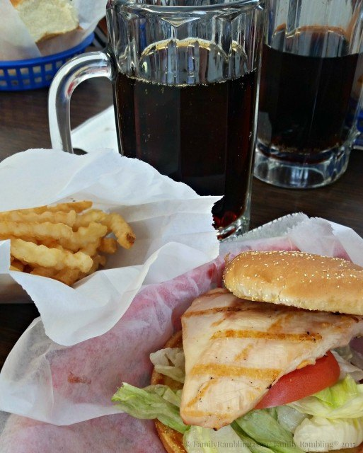 Home made root beer & chicken sandwich The Barrel Drive In, Clear Lake, Iowa.