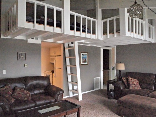 Loads of room - and a fun loft area- at this vacation condo rental in Clear Lake, Iowa. Condo overlooks the marina and has lake view at The Harbourage.