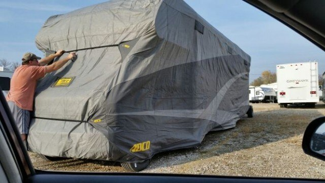 RV storage cover for winter