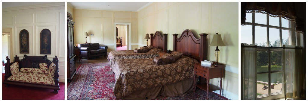 Upstairs in the Allerton Mansion at Allerton Park & Retreat Center. Rooms are spacious and luxurious with terrific views.