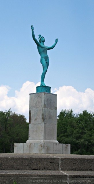 The Sun SInger sculpture at Allerton Park & Retreat Center in Monticello, IL. The 15 foot tall statue of Phoebus Apollo, the sun-god of Greek mythology, sings to coax the sun to rise.