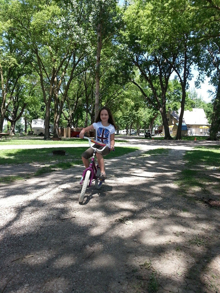 Happiness is biking around a campground. The freedom of RVing.