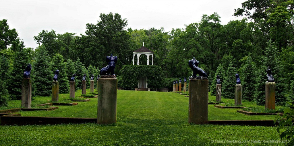 Fu Dog Garden at Allerton Park & Retreat Center in Monticello, Illinois. The expansive formal gardens and woodland trails are free to visit and open daily.