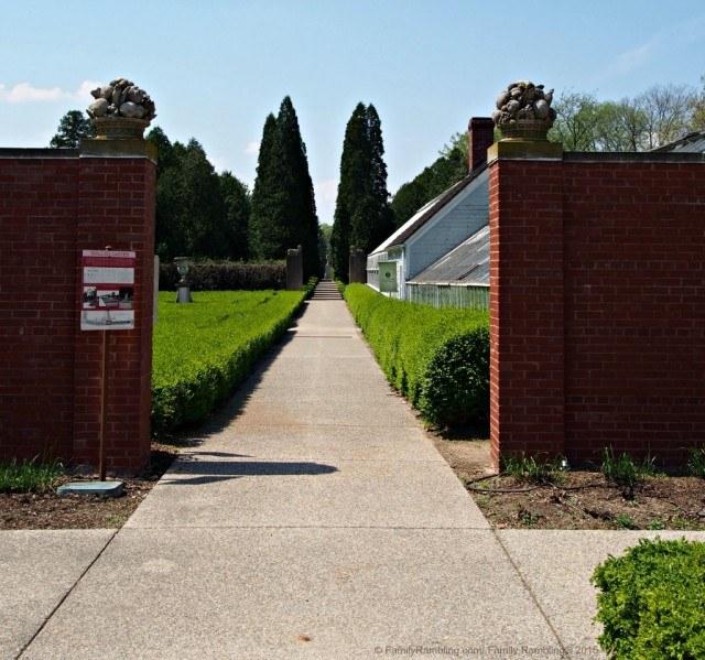 Formal gardens at Allerton Park & Retreat Center, Monticello, Illinois. Exiting the Brick Wall Garden you pass through 4 more gardens before reaching the sculpture of Adam.