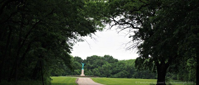 The 15 foot tall Sun Singer statue lies at the far west end of Allerton Park & Retreat Center in Monticello, IL
