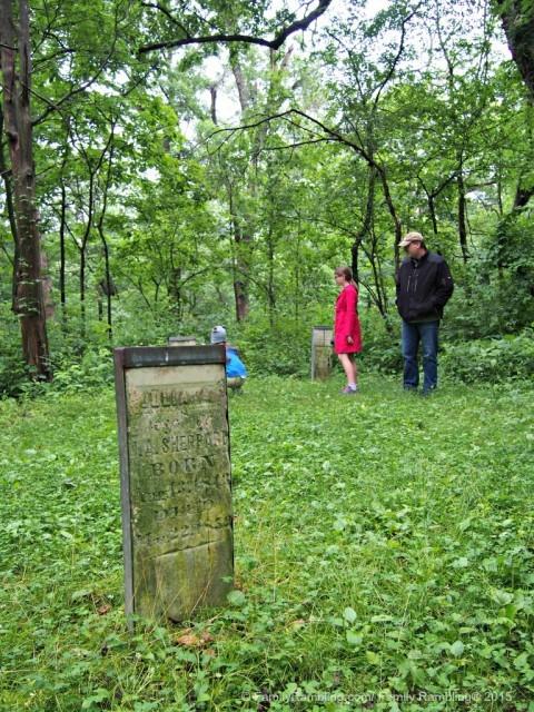 The gravestones date from the mid-1800s in the Illinois Pioneer Cemetery at Allerton Park & Retreat Center, Monticello, IL