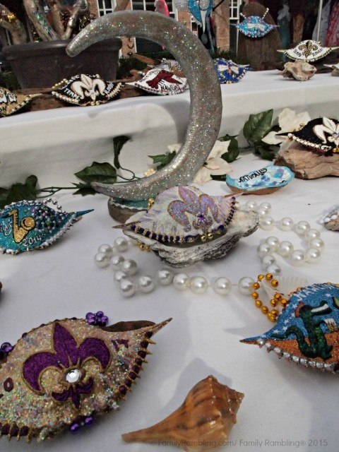 Crab shells with bling at the French Market in New Orleans. New Orleans Christmas travel tips.