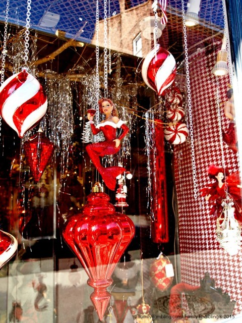 Royal Street shop window at Christmas. New Orleans Christmas travel tips.