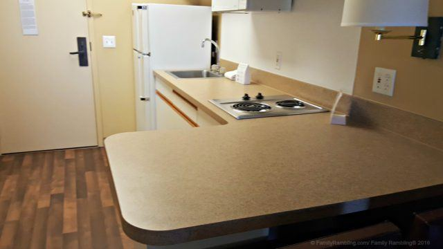 Full kitchen at Extended Stay America: Hotel for a Family Vacation | FamilyRambling.com