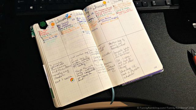 Weekly schedule in my Bullet Journal