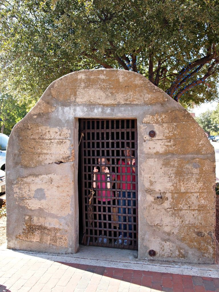 Pioneer Jail on Historic Main Street in Grapevine, Texas.