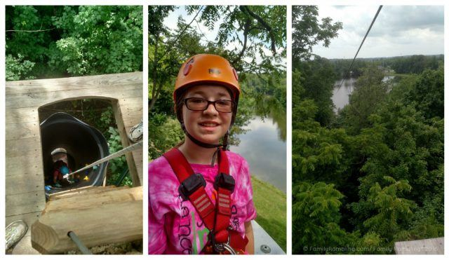 Zip lines and ropes course at Zip Timber Lake