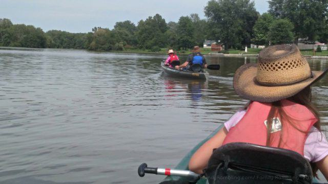 Canoeing along the St. Mary's River in Fort Wayne, Indiana