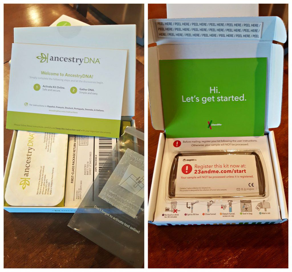 AncestryDNA and 23andMe DNA test kits