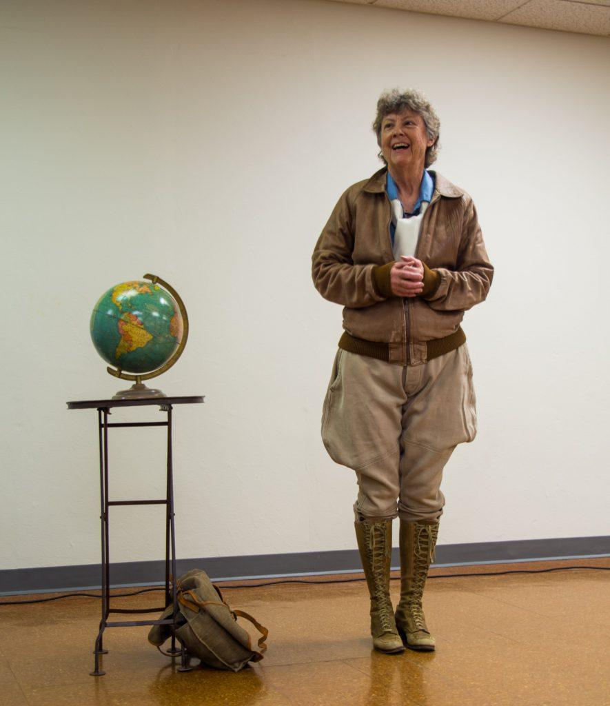 Historian Ann Birney as Amelia Earhart