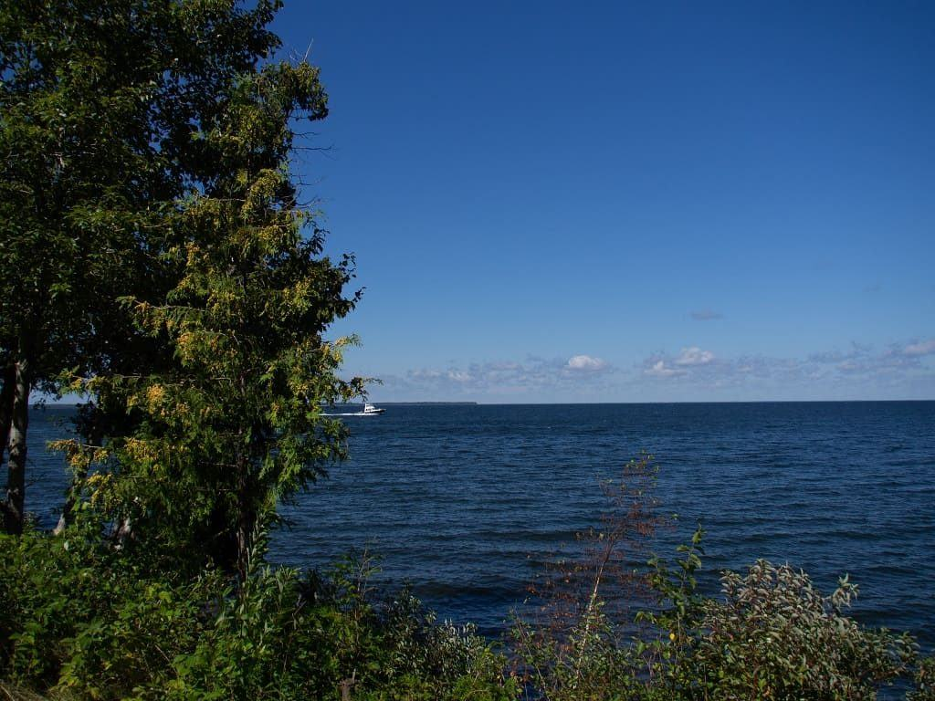 Boat on Lake Michigan viewed from Peninsula State Park, Door County, Wisconsin
