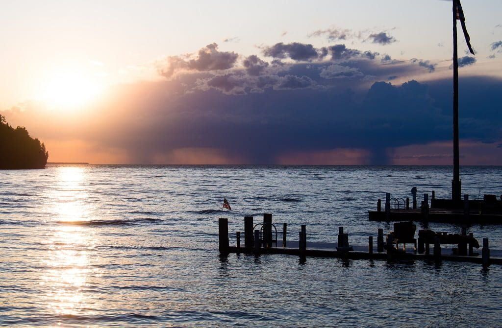 sunset and storms over Lake Michigan. Door County, Wisconsin