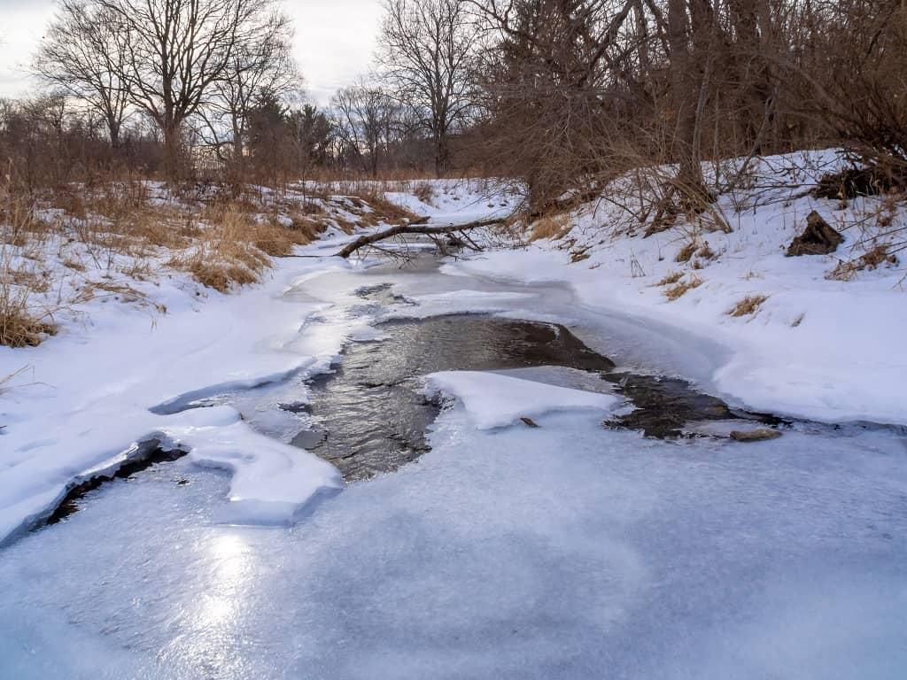 frozen river Thomas Mitchell Park Polk County IA