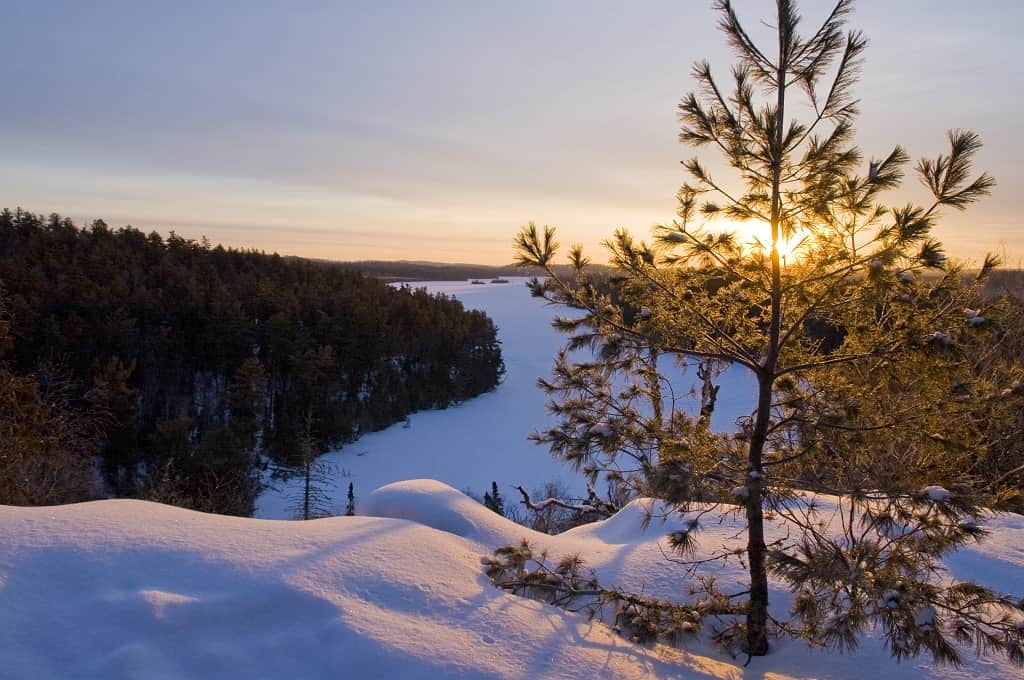 Winter lanscape scenics of West Bearskin Lake along the Gunflint Trail, Minnesota