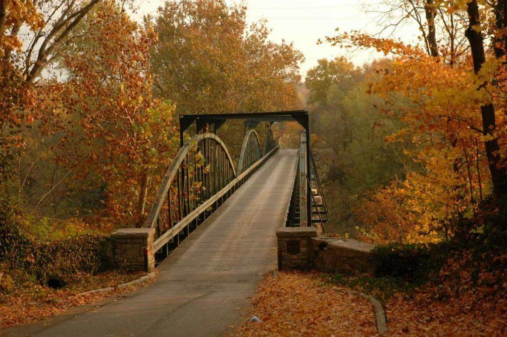 Iron Bridge near Bowling Green Kentucky in fall