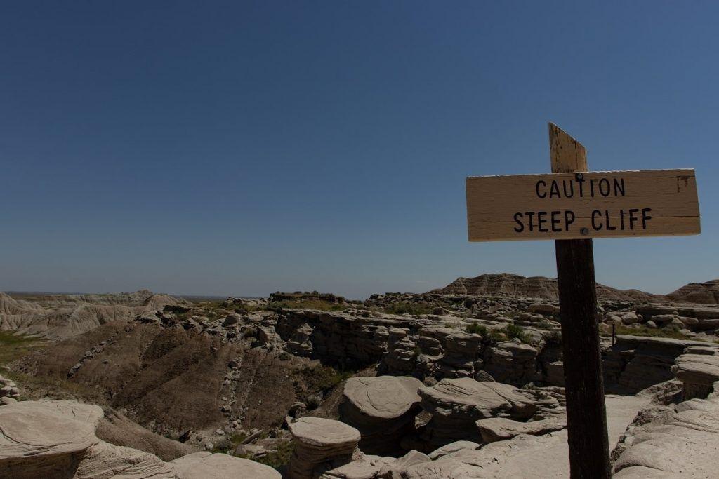sttep cliff sign, Toadstool Geologic Park, Nebraska