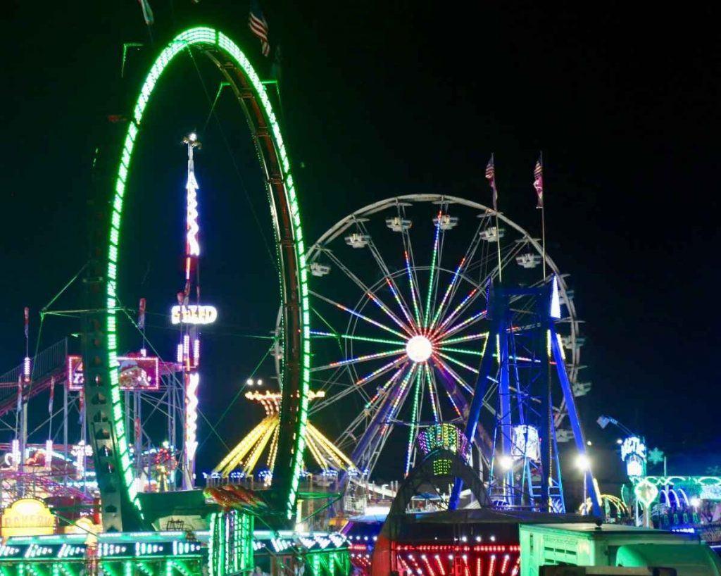 Kansas State Fair midway at night
